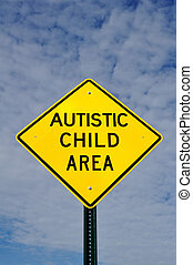 Autistic Child Area Sign, Sky, Clouds, Copy Space, vertical