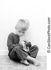 autistic, imagen, behaviour., contrasty, niño, representar