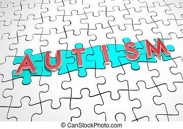 autistic, puzzle, trovare, illustrazione, pezzi, cura, trattamento, autism, condizione, 3d