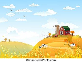 Autmn landscape with farm.