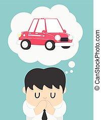 auto, über, mann, geschaeftswelt, träumende