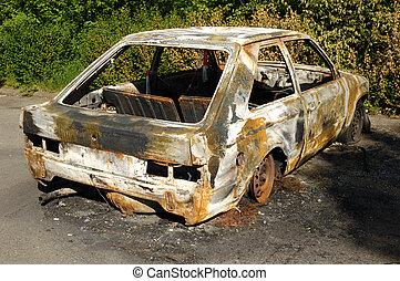 auto, aangebrand, wrak