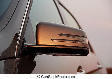 auto, aanzicht, achterspiegel