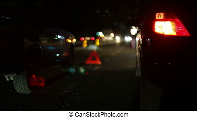 Investigation of the causes of auto accident on the night city road