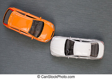 Auto accident involving two cars on the road, Car accident concept