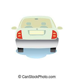 auto, achterkant, vrijstaand, illustratie