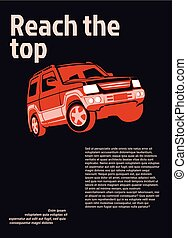 auto, advertentie, poster., rood, 4x4, op, zwarte achtergrond, met, staal, tekst