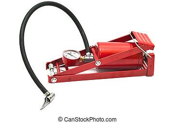 auto, air-pump, vrijstaand, achtergrond, pedaal, witte
