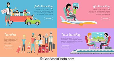 Auto, Air, Train Travelling and Travellers Banner.