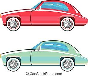 auto, alt gestaltet, coupe