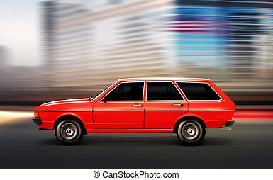 auto, altes , abbildung, 3d