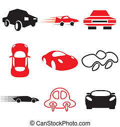 auto and car icons set