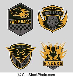 auto and moto racing emblem set and design elements
