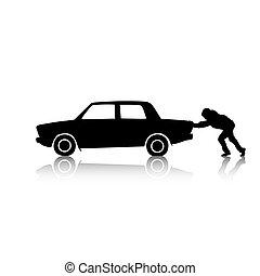 auto, anschieben, silhouette, mann