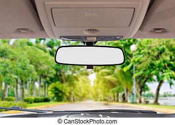 auto, ansicht, hinterer spiegel