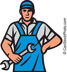 auto, arbeider, monteurs, professioneel