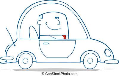 auto, arbeit, fahren, geschäftsmann