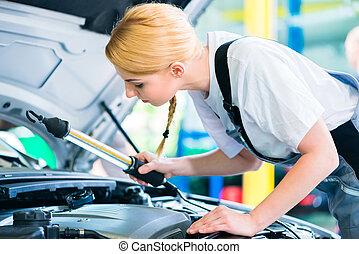 auto, arbeitende , mechaniker, weibliche , werkstatt