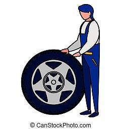 auto, arbeiter, mechaniker, ermüden