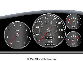 auto, armaturenbrett, geschwindigkeitsmesser, für, motor,...