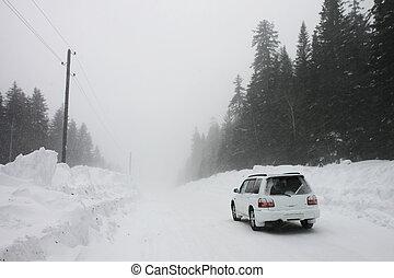 auto, auf, a, winter, straße