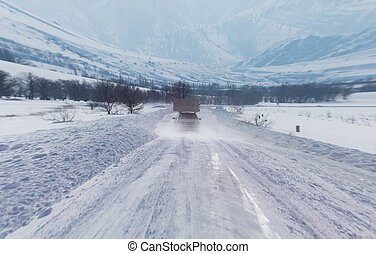 auto, auf, a, winterwege