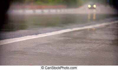 auto, auf, sehr, nasse, straße