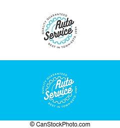 auto, auto dienst, logo, set, met, tandwiel, lijn, stijl, vrijstaand, op achtergrond, voor, auto, vaststellen