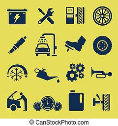 auto, auto- reparatur, service, ikone, symbol