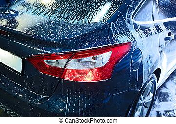 auto, bedeckt, mit, schaum, auf, autowaschanlage