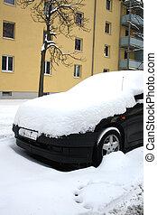 auto, bedeckt, mit, schnee, in, winter