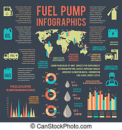 auto, benzine, dienst, infographics