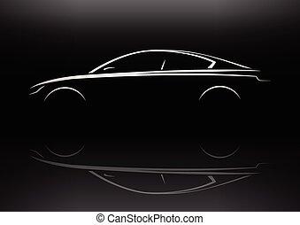 auto, berline, uitvoerend, silhouette