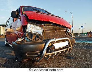 auto, beschadigd, na, verkeer ongeval