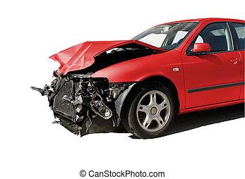 auto, beschadigd, ongeluk, vrijstaand, na