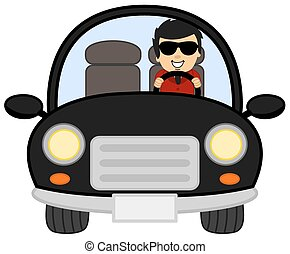 auto, bestuurder, particulier, black