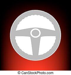 auto, bestuurder, teken., postzegel, of, oud, foto, stijl, op, red-black, helling, achtergrond.