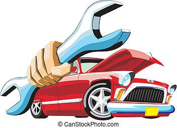 auto, bewaren, moersleutel, hand