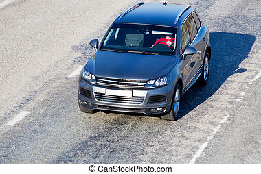 auto, bewegt, auf, stadtstraße