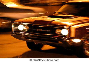 auto, bewegung, front