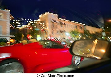 auto, bewegung, verkehr, rotes , nacht, sport, blurry