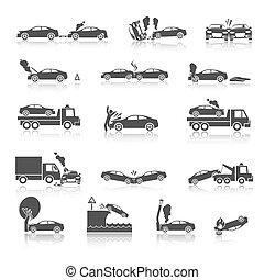 auto, black , botsing, witte , iconen
