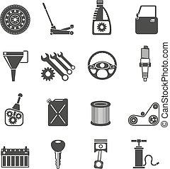 auto, black , dienst, iconen