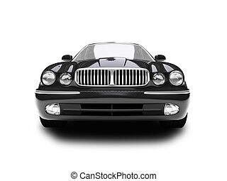 auto, black , vrijstaand, aanzicht, voorkant