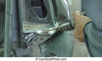 Auto body repair series Mechanic repair car body