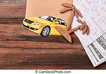 auto, boom., palm, karton