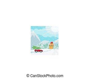 auto, boompje, kerstmis, dak