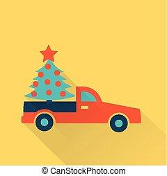 auto, boompje, kerstmis