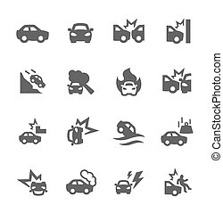 auto, botsingen, iconen