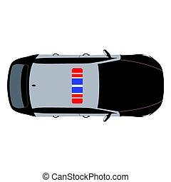 auto, bovenzijde, politie, aanzicht
